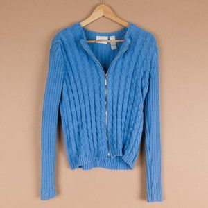 Rainy Day Blue Cozy Cable knit Zip up L